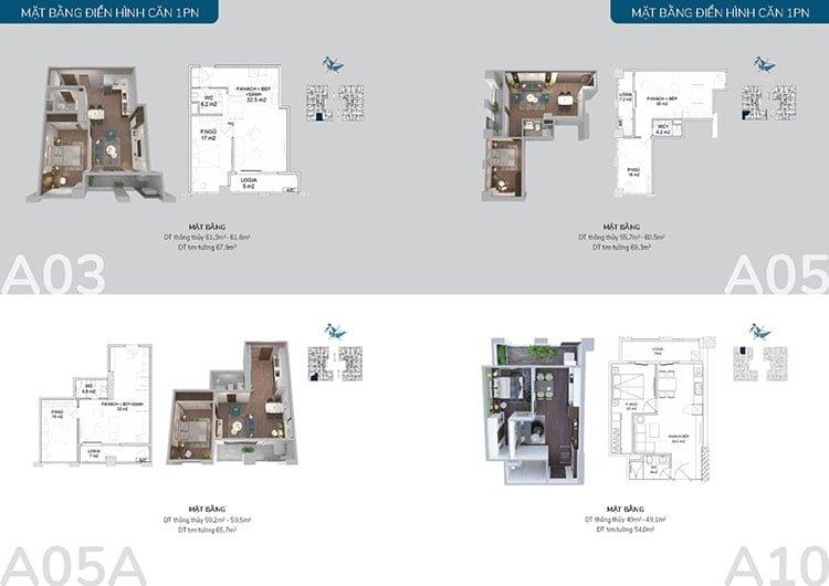 Thiết kế căn 1 phòng ngủ chung cư thiên niên kỷ hà đông