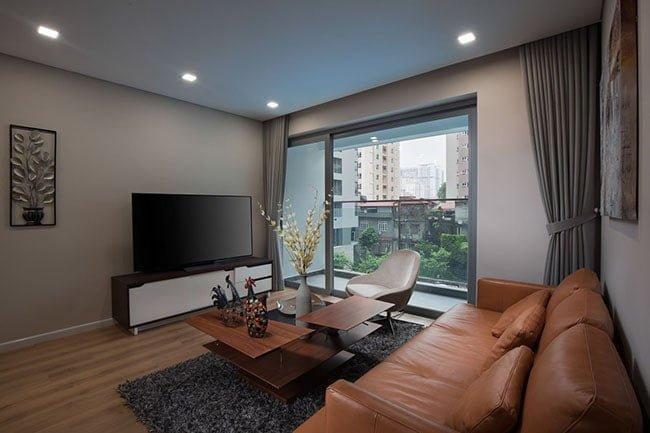 Phòng khách tại căn hộ mẫu chung cư Rivera Park Hà Nội