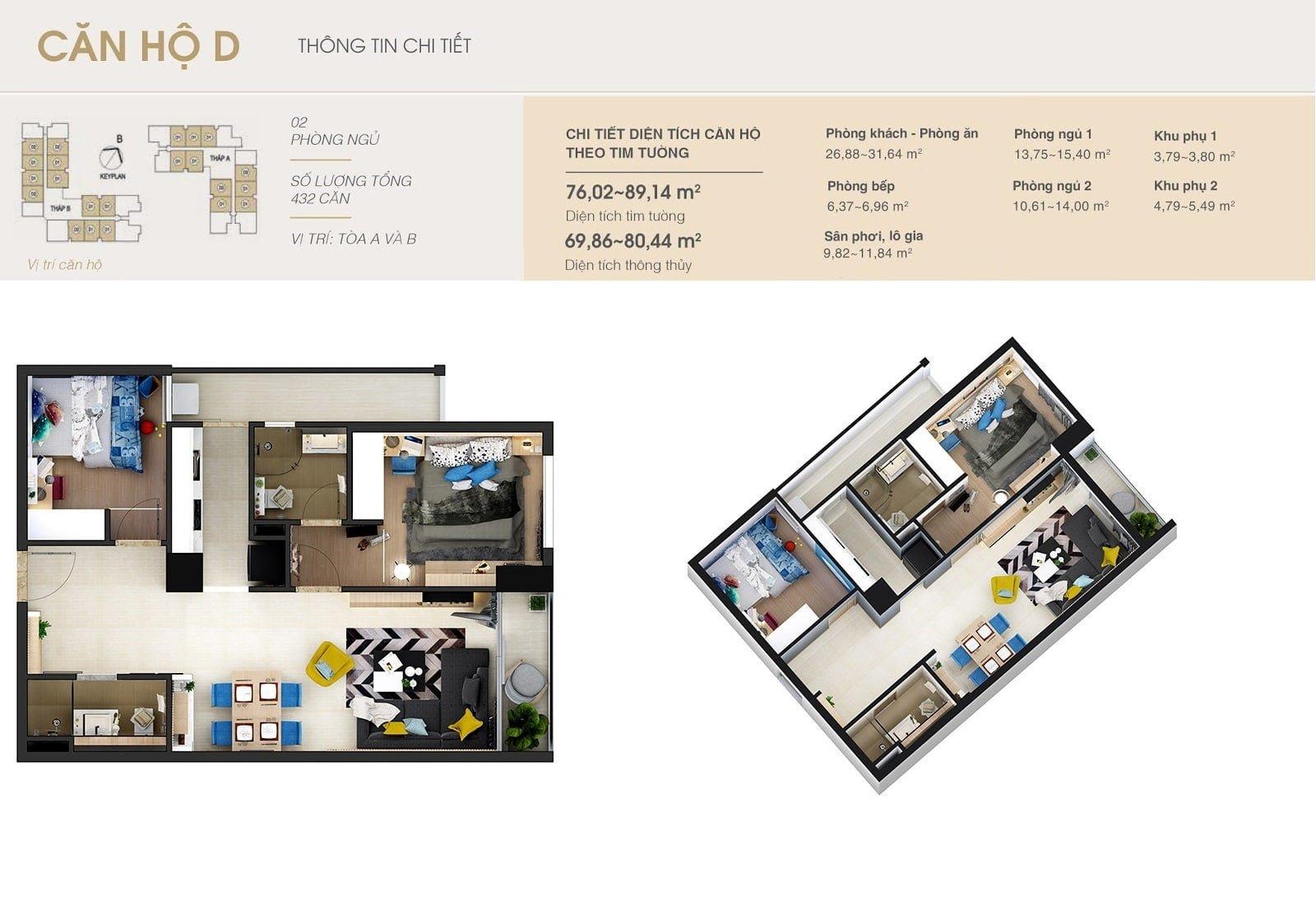 căn hộ 2 phòng ngủ chung cư Rivera Park Hà Nội