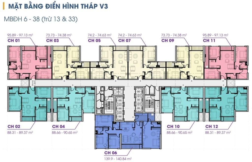Mặt bằng dự án căn hộ Chung cư The Terra An Hưng Tòa V3