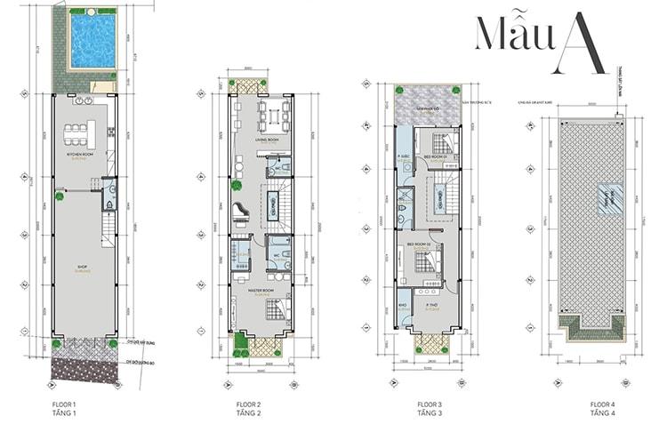 Thiết kế căn hộ Shophouse Infinity Mẫu A