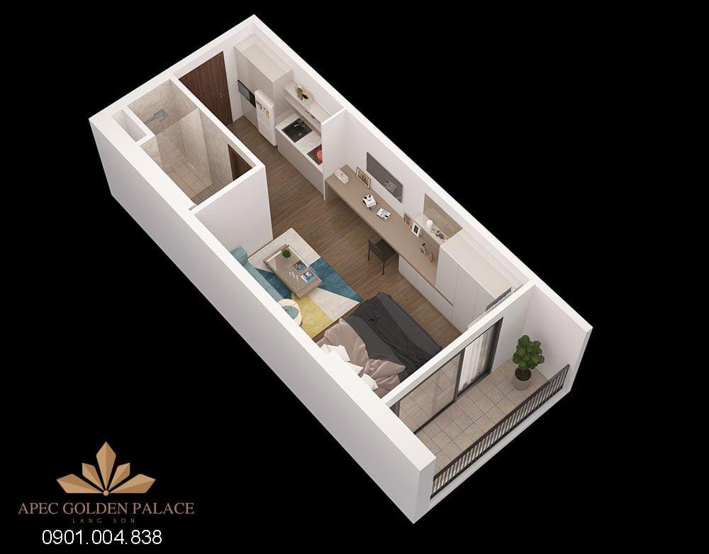 Thiết kế căn 1 phòng ngủ Apec Golden Palace
