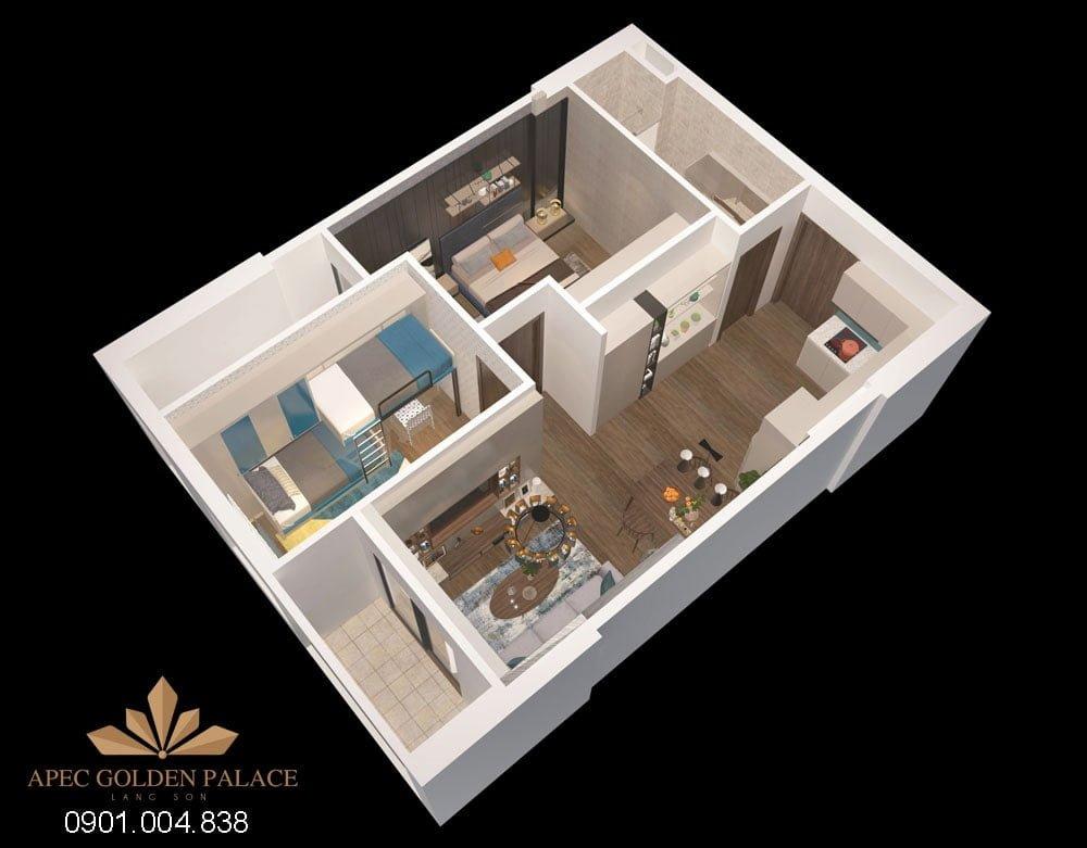 Thiết kế căn 2 phòng ngủ Apec Golden Palace