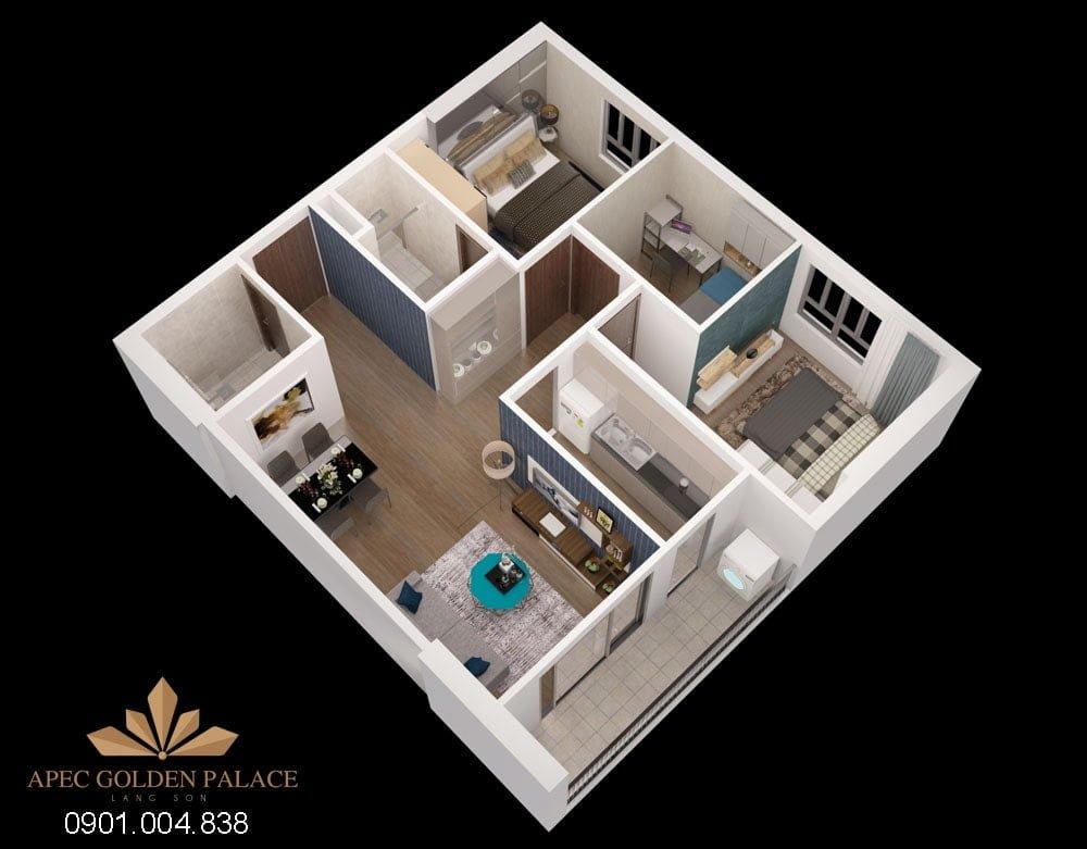 Thiết kế căn 3 phòng ngủ Apec Golden Palace Lạng Sơn