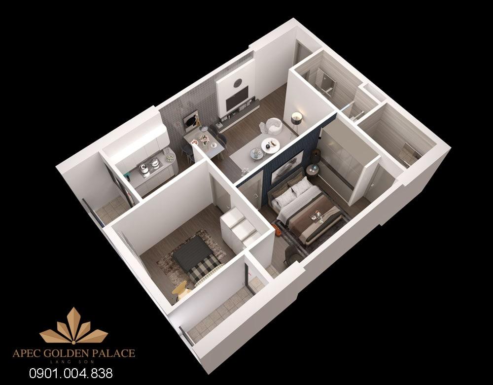 Thiết kế căn hộ 2 phòng ngủ dự án Apec Golden Palace