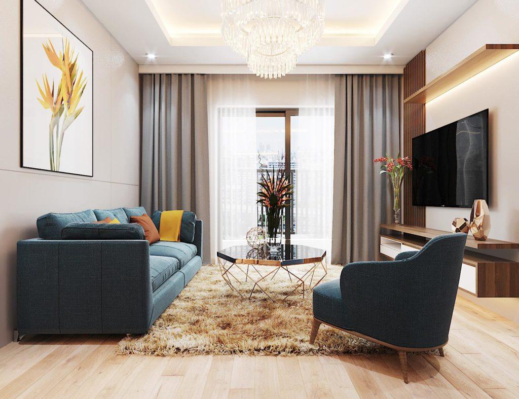 Thiết kế nội thất phòng khách chung cư Le Grand Jardin Long Biên