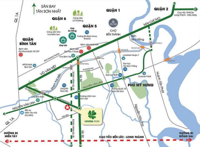 Vị trí dự án Lovera Vista Khang Điền