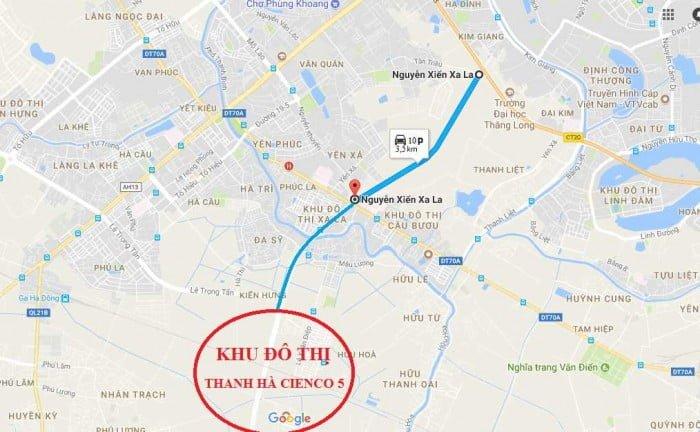 Vị trí khu đô thị Thanh Hà Cienco 5