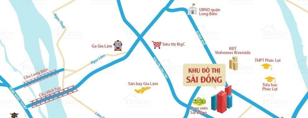 Vị trí dự án khu đô thị Sài Đồng
