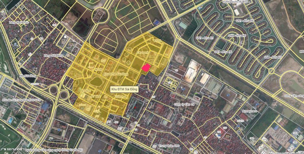 Vị trí khu đô thị sài đồng Map