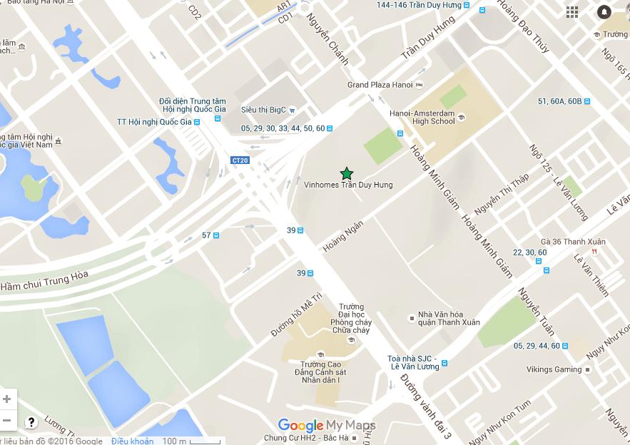 Vị trí chung cư mặt đường trần duy hưng Google Map