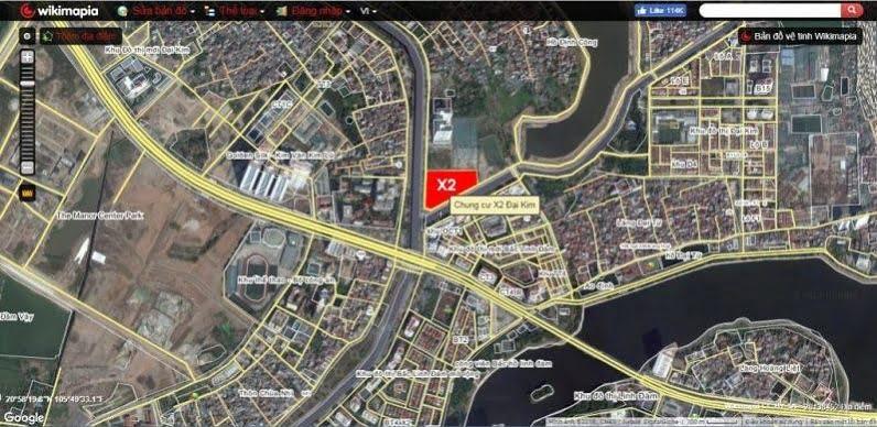 Vị trí nhà tái định cư X2 Đại Kim Wikimap