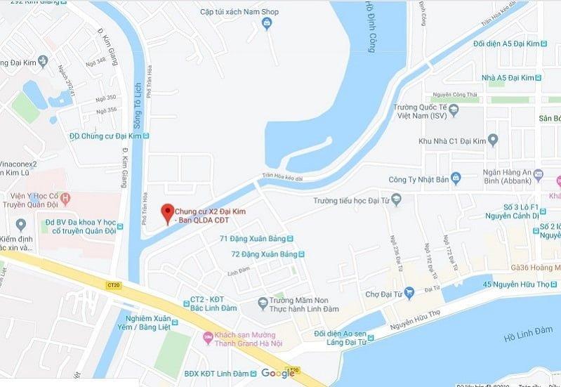 Vị trí Chung cư X2 Đại Kim Google Map