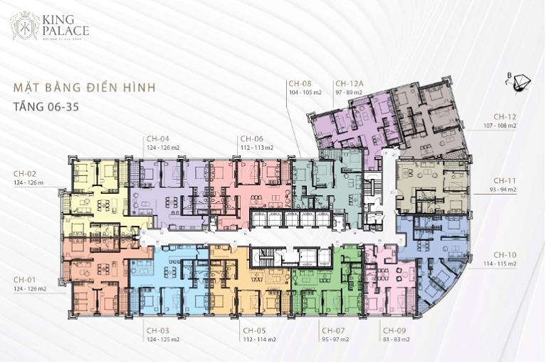 Mặt bằng thiết kế chung cư King Palace tầng 6-35