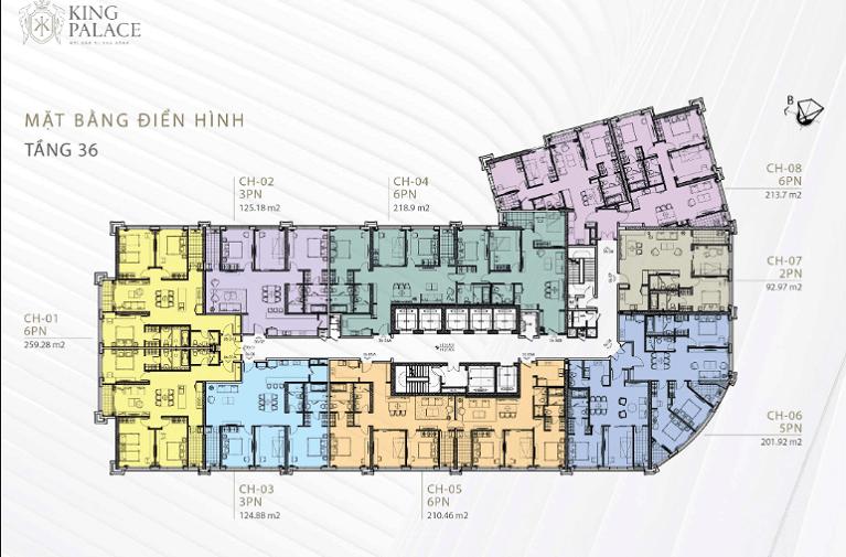 Mặt bằng thiết kế dự án căn hộ King Palace tầng 36