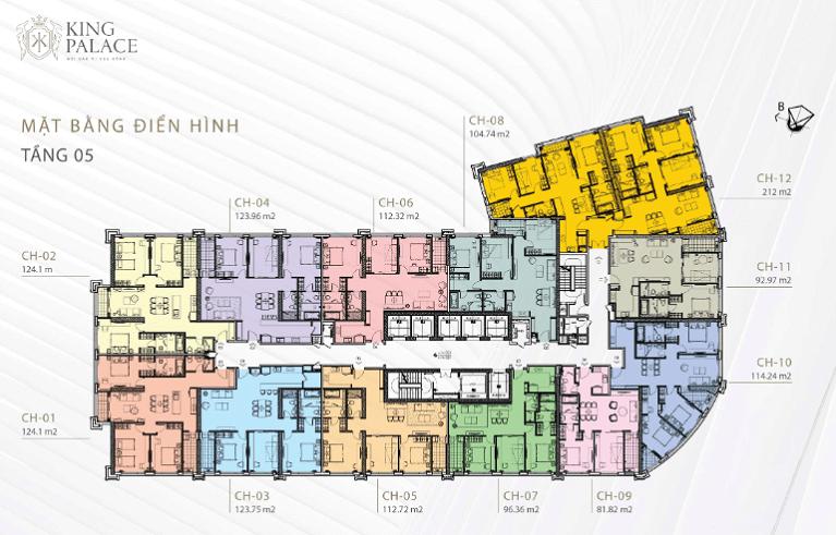 Mặt bằng thiết kế chung cư King Palace tầng 5