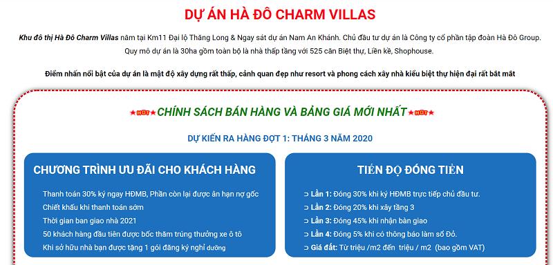 Chính sách bán hàng và tiến độ thanh toán của dự án Hà Đô Charm Villas