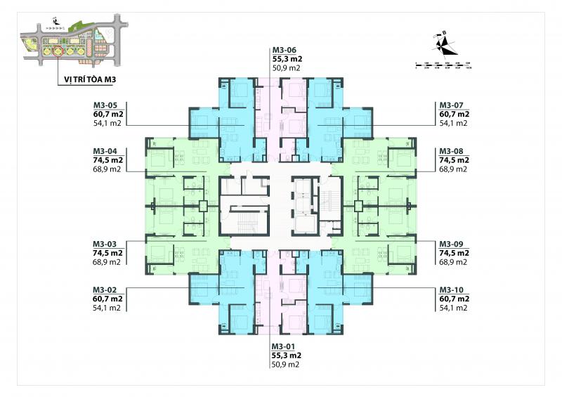 Mặt bằng thiết kế căn hộ Mipec City View Kiến Hưng