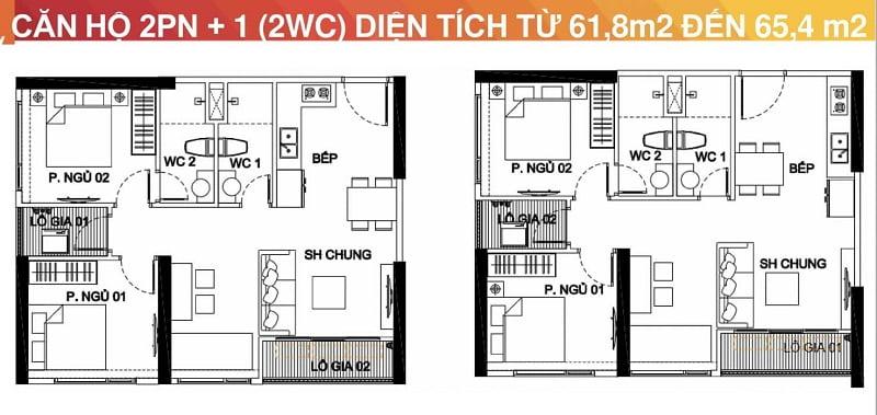 căn hộ 2 phòng ngủ Vinhomes Smart City