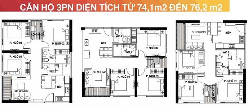 Thiết kế căn hộ 3 phòng ngủ Vincity Sportia