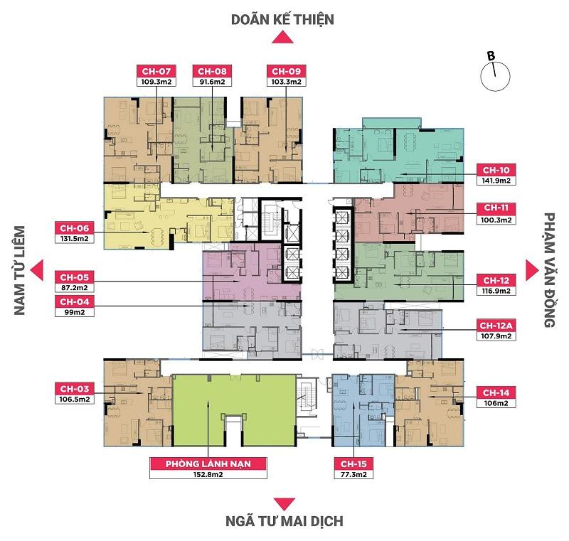 Mặt bằng thiết kế chung cư The Nine Tower số 9 Phạm Văn Đồng