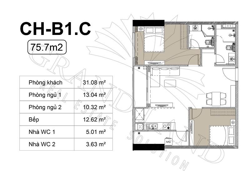 Thiết kế căn hộ chung cư Harmony Square 1