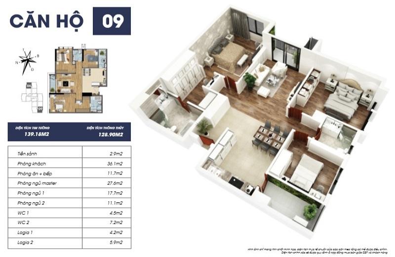 Thiết kế căn hộ 11 dự án Goldmark City Sapphire 2