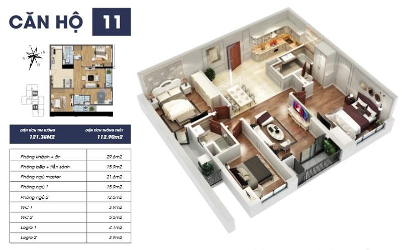 Thiết kế căn hộ 11 tòa Sapphire 2 Goldmark City 136 Hồ Tùng Mậu