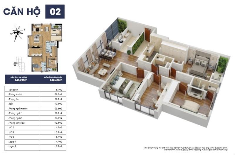 Thiết kế căn hộ 02 tòa S2 TNR Goldmark City