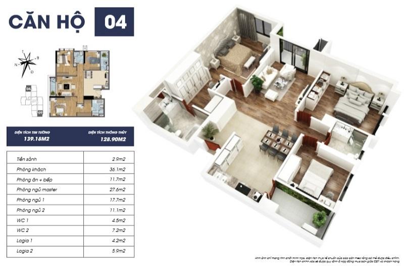 Thiết kế căn hộ 04 tòa S2 TNR Goldmark City