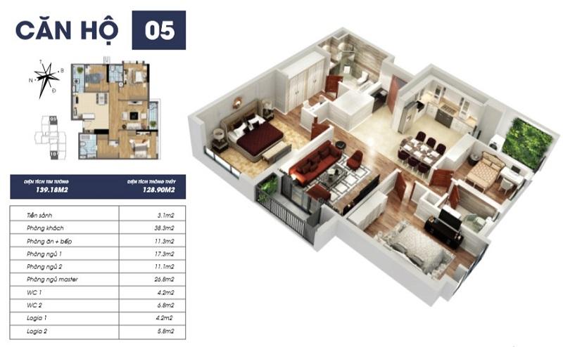 Thiết kế căn hộ 05 tòa S2 TNR Goldmark City