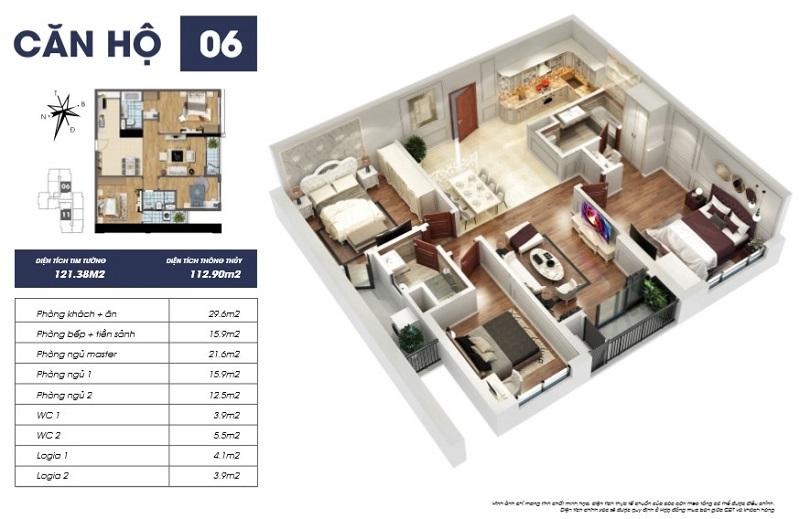 Thiết kế căn hộ 06 tòa Sapphire 2 Goldmark City 136 Hồ Tùng Mậu