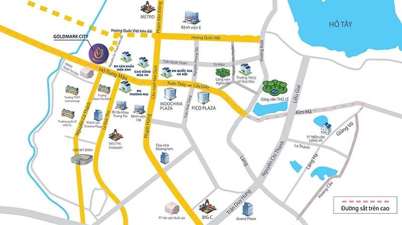 vị trí dự án TNR Goldmark City