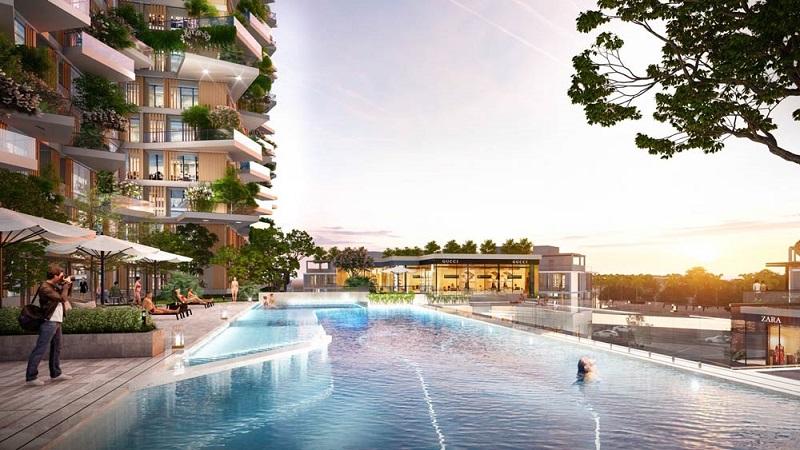 Bể bơi vô cực được trang bị tại chung cư Sol Forest Ecopark