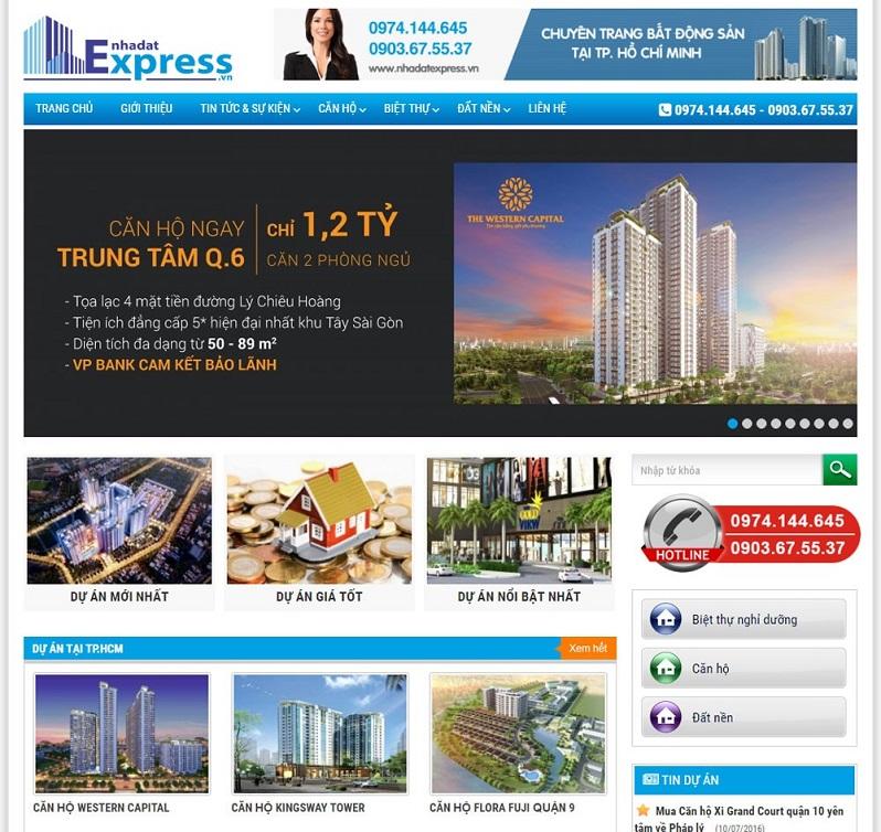 Mẫu trang web tổng bất động sản 2