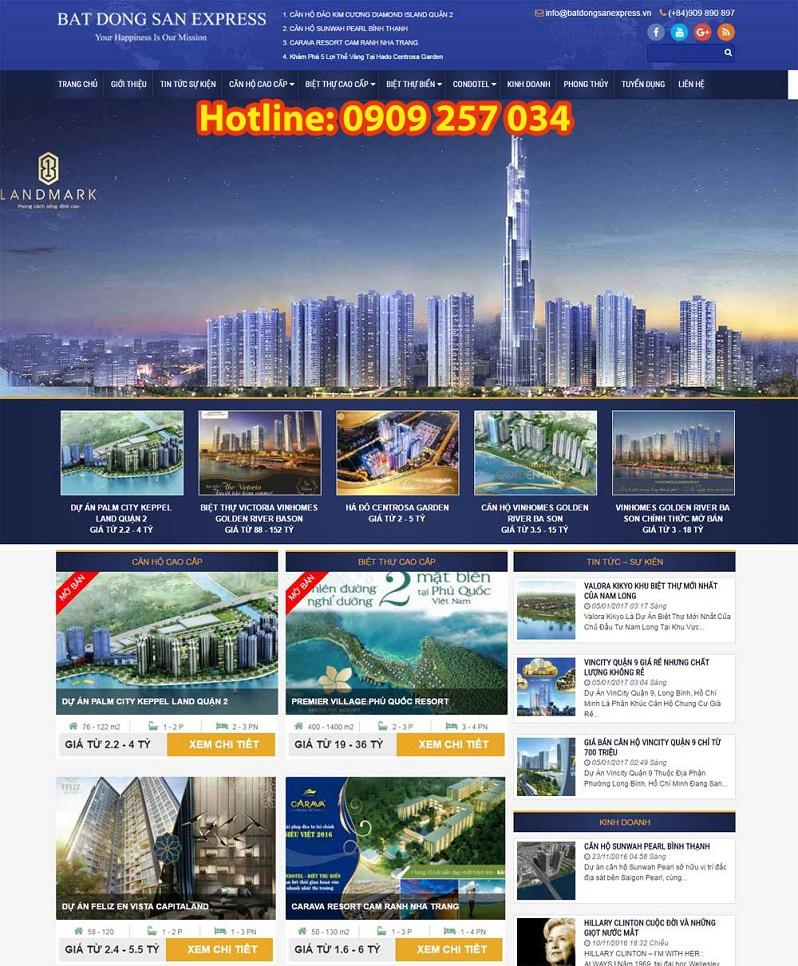 Mẫu trang web tổng bất động sản 3