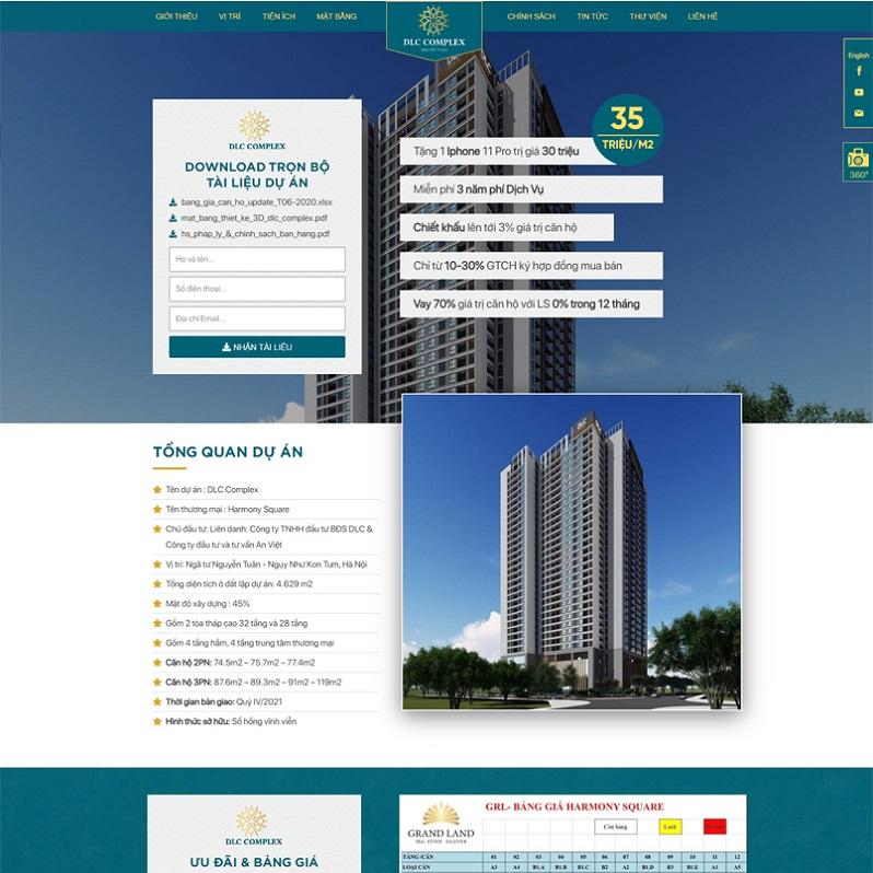 Mẫu thiết kế Landing page bất động sản số 3