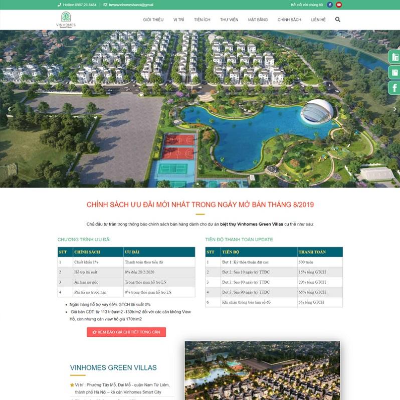 Mẫu thiết kế website bất động sản dạng Landing page - Số 8