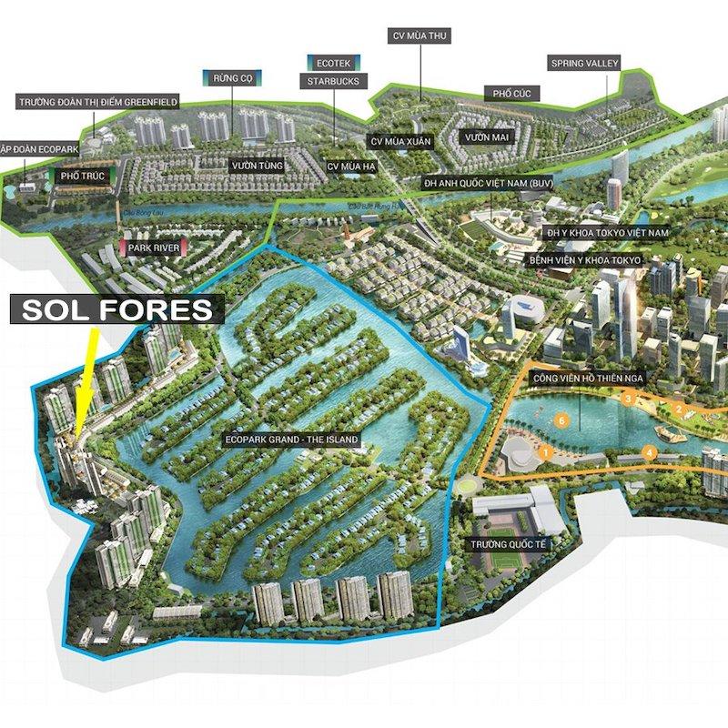 Vị trí dự án Sol Forest Ecopark 1