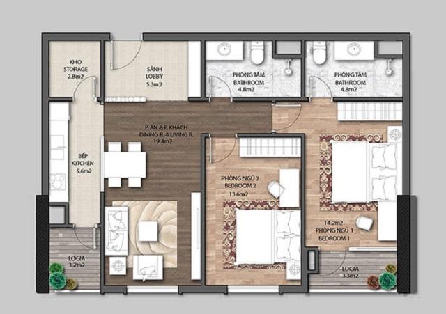 Thiết kế căn hộ Mặt bằng chung cư The Jade Orchid Garden