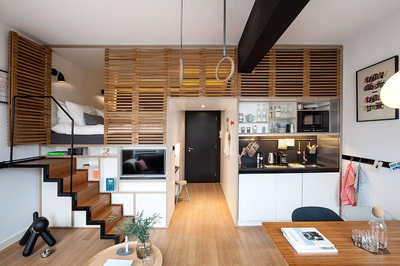Căn hộ Studio được thiết kế theo phong cách hiện đại và sang trọng