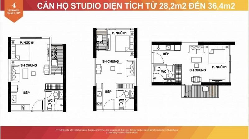 Thiết kế căn hộ Studio diện tích linh hoạt từ 28m2 - 36m2