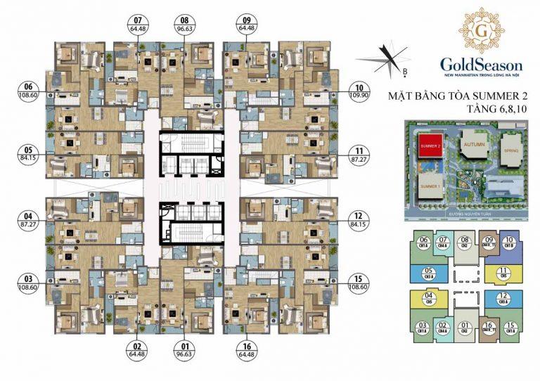 Mặt bằng thiết kế tòa Summer Goldseason 47 Nguyễn Tuân
