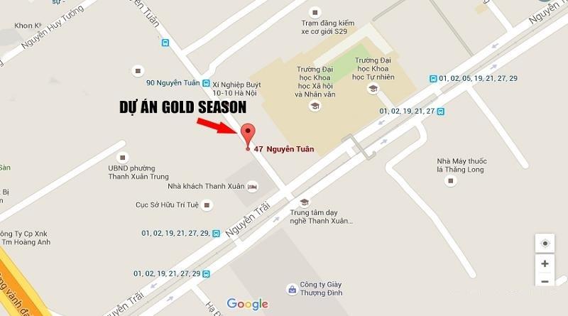 Vị trí Dự án TNR GoldSeason Google Map