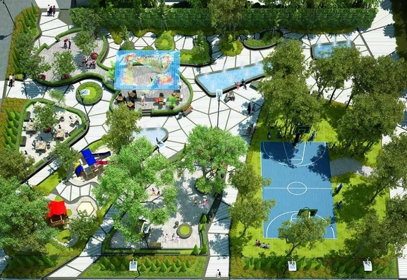 Khuôn viên xanh bên trong dự án Goldseason Nguyễn Tuân