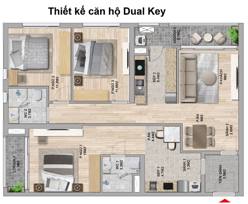 Thiết kế căn hộ Dual Key đẹp