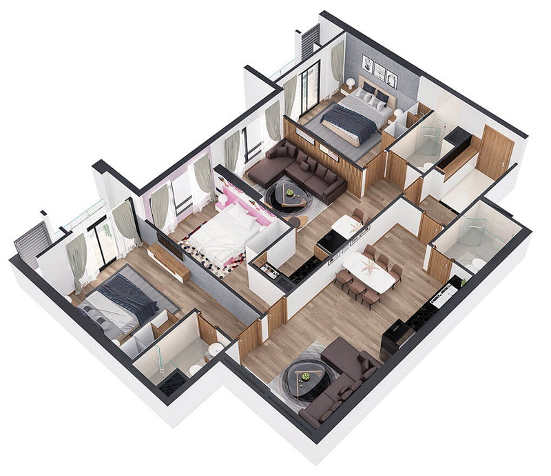 Mẫu thiết kế 1 căn hộ 2 phòng ngủ đẹp, sang trọng