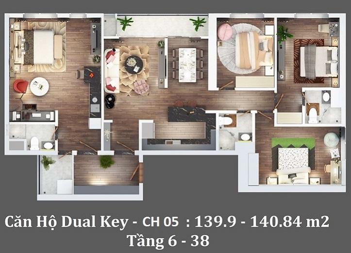 Thiết kế căn hộ Dual 4 phòng ngủ, diện tích 140m2