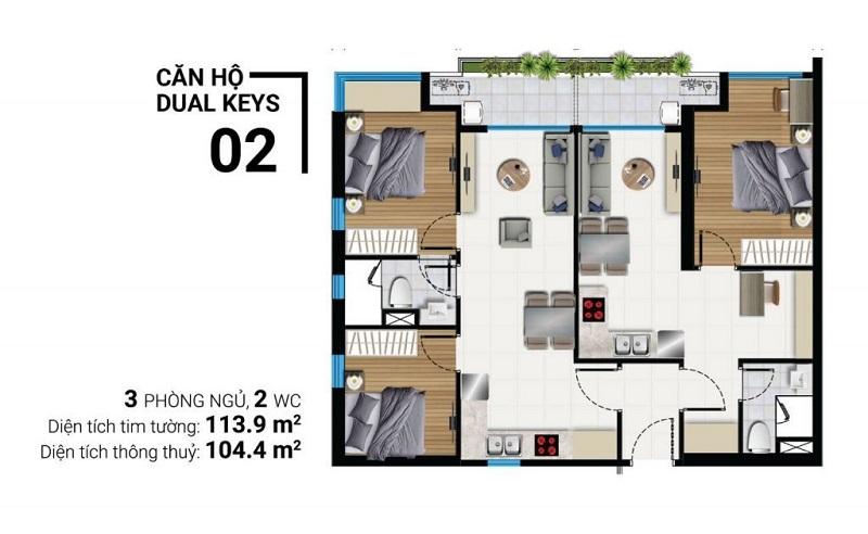 Thiết kế căn hộ Dual Keys - 3 phòng ngủ, 2wc