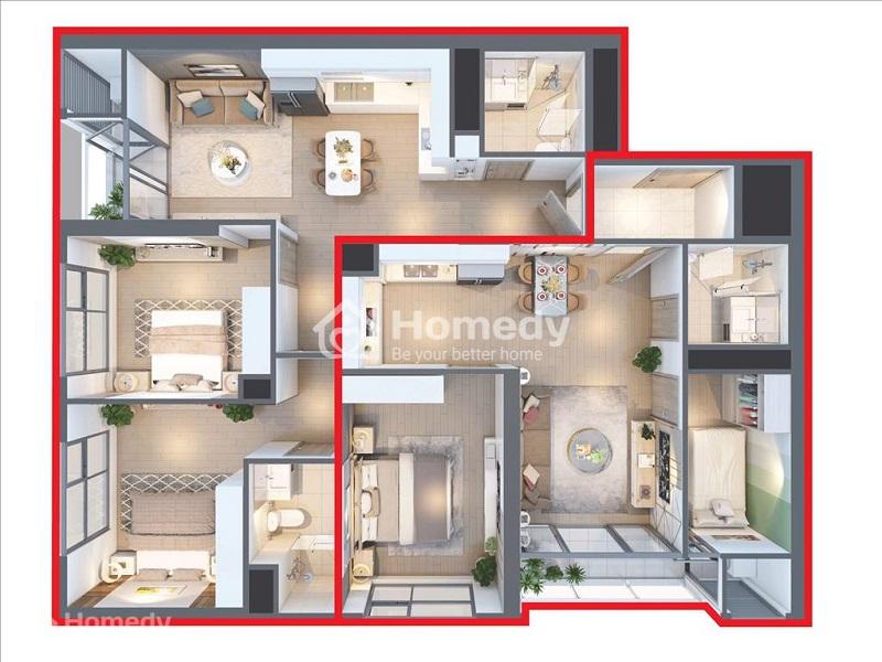 Căn hộ Dual Key với thiết kế 4 phòng ngủ